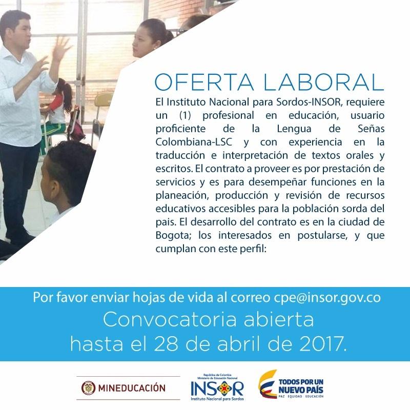 Imagen Oferta laboral Abril 2017