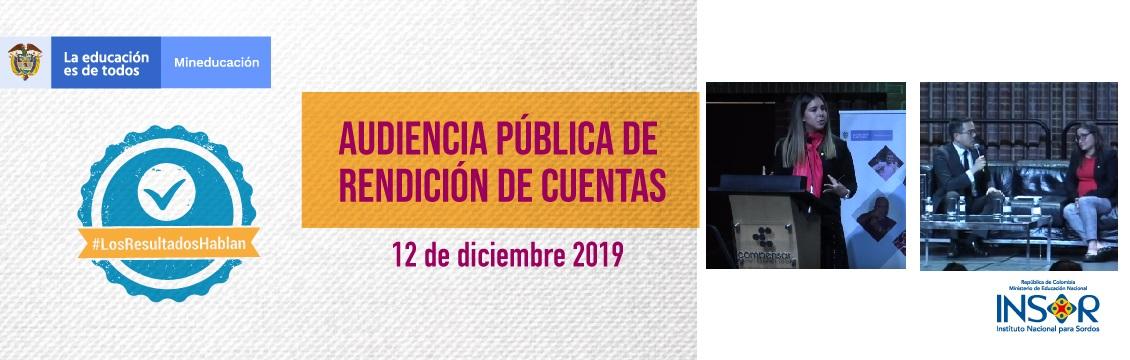 Banner Audiencia Pública de Rendición de Cuentas INSOR 2019: #LosResultadosHablan
