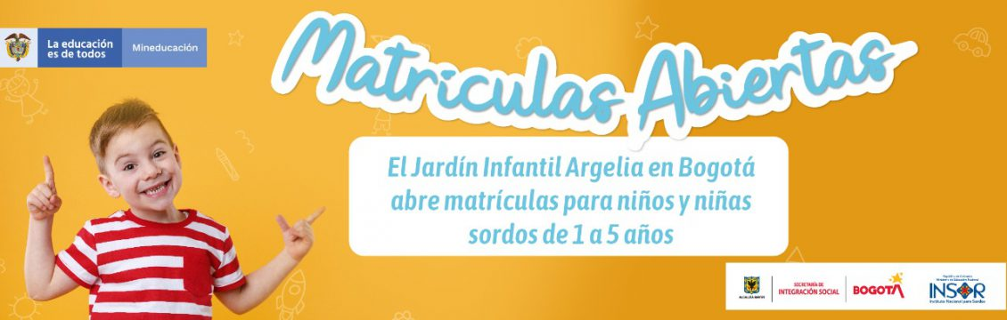 El Jardín Infantil Argelia en Bogotá abre matriculas para niños y niñas sordos de 1 a 5 años